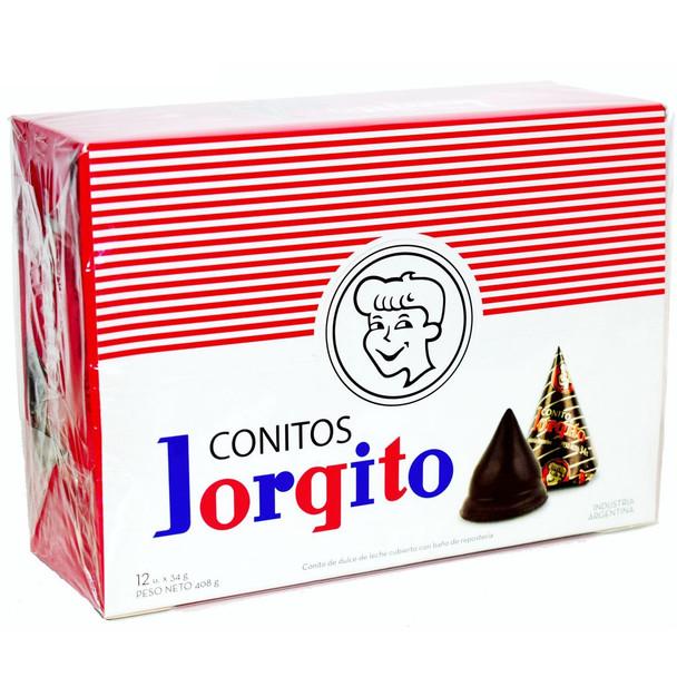 Jorgito Conito de Chocolate Relleno con Dulce de Leche Chocolate Cones Filled with Creamy Dulce de Leche, 34 g / 1.19 oz (box of 12 units)
