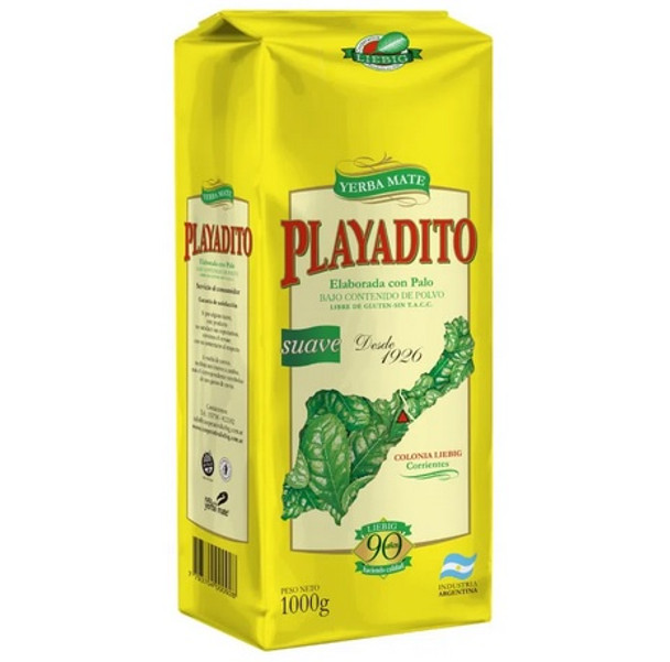 Playadito Yerba Mate Traditional Con Palo from Colonia Liebig - New Packaging, 1 kg / 2.2 lb