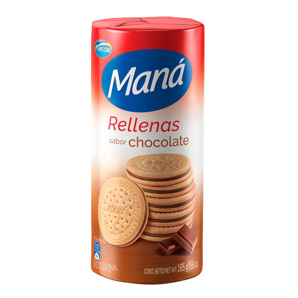 Maná Rellenas Chocolate Thin Sweet Cookies Chocolate Filling Flavor, 165 g / 5.8 oz (pack of 3)