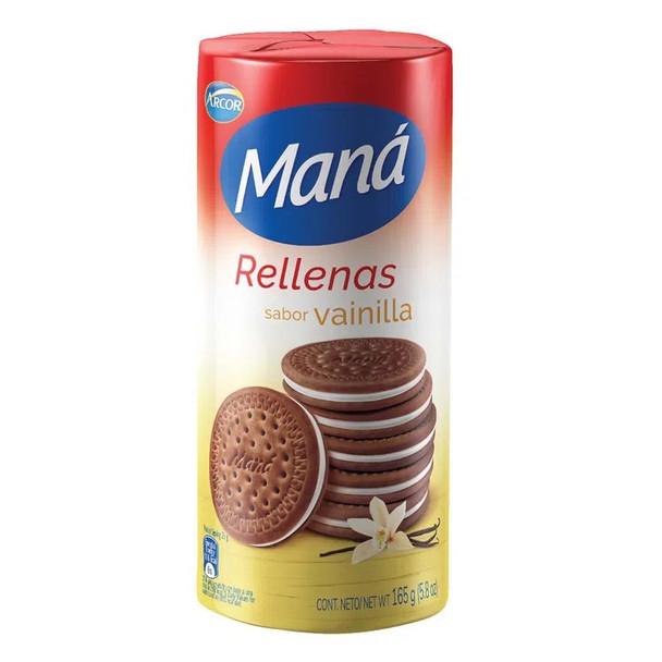 Maná Rellenas Vainilla Thin Sweet Chocolate Cookies Vanilla Filling Flavor, 165 g / 5.8 oz (pack of 3)