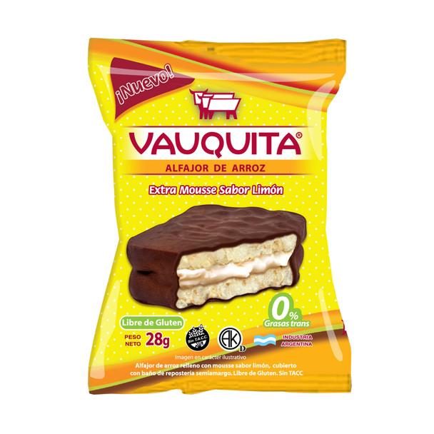 Vauquita Alfajor de Arroz Wholegrain Rice Milk Chocolate Alfajor with Lemon Filling, 28 g / 0.98 oz (pack of 6)