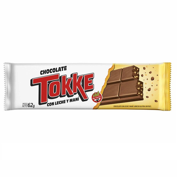 Tokke Chocolate con Leche y Maní Classic Milk Chocolate Bar with Peanuts Gluten Free, 62 g / 2.18 oz (pack of 2 bars)