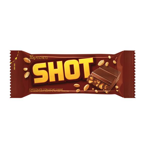 Shot Milk Chocolate Bar with Peanuts, 35 g / 1.23 oz (box of 25 mini bars)