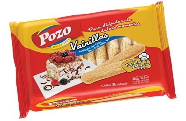 Pozo Vainillas Galletitas Soft Sprinkled Sugar Cookies Vanilla Flavor Classic Argentinian Vintage Cookies, 480 g / 16.9 oz (36 units)