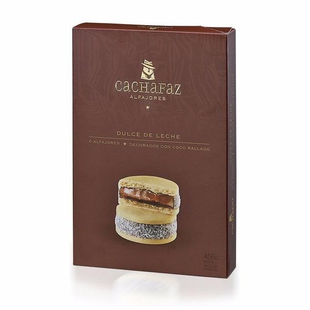 Cachafaz Alfajor Cornstarch with Grated Coconut and Dulce de Leche (box of 6)