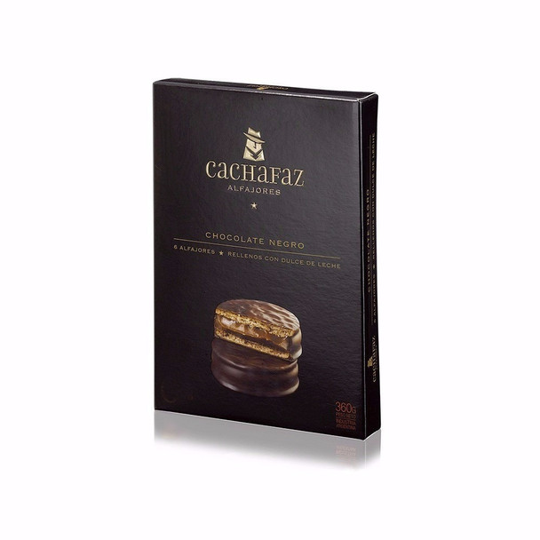 Cachafaz Alfajor Dark Chocolate with Dulce de Leche (box of 6)