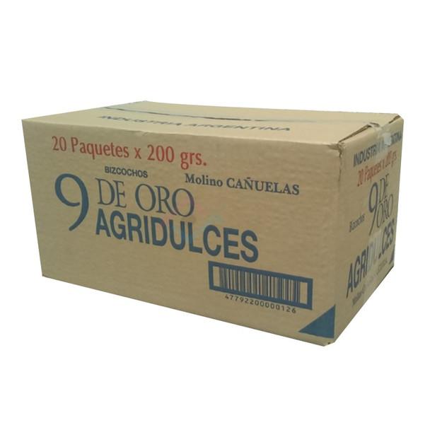 9 de Oro Biscuits Bittersweet Bizcochos Wholesale Bulk Box, 200 g / 7.1 oz each (20 count per box)