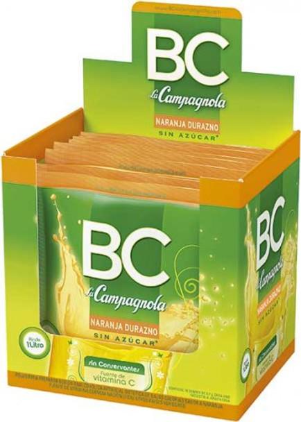BC Jugo en Polvo Naranja-Durazno Powdered Juice Orange & Peach Flavor - Sugar Free & Low Sodium, 9 g / 0.31 oz pouch (box of 18)