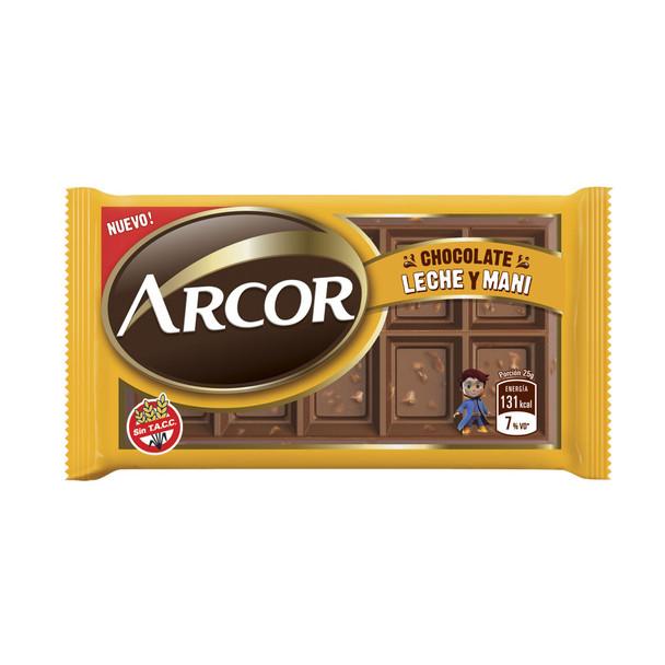 Arcor Chocolate Leche y Maní Milk Chocolate Bars with Peanuts - Gluten Free, 25 g / 0.88 oz (box of 30)