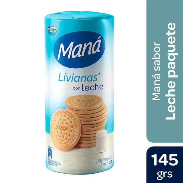 Maná Livianas Thin Sweet Cookies with Milk, 145 g / 5.1 oz (pack of 3)
