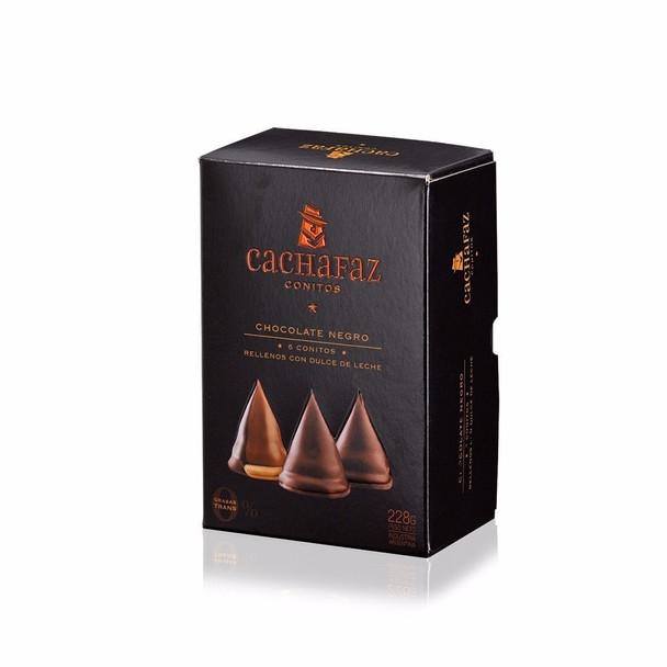 Cachafaz Dulce de Leche Conitos Cone Cookies Filled with Creamy Dulce de Leche and Milk Chocolate Covered Wholesale Bulk Box, 228 g / 8 oz (12 count per box)