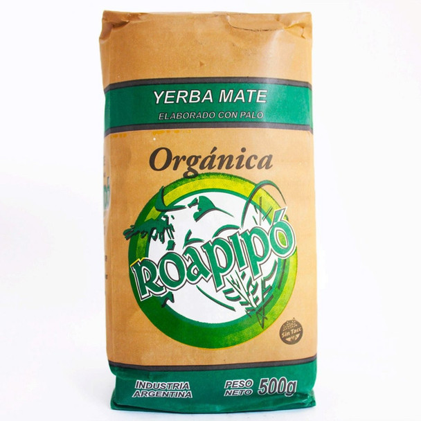 Roapipó Organic Yerba Mate Tradicional Wholesale Bulk Pack, 500 g / 1.1 lb (12 count per pack)
