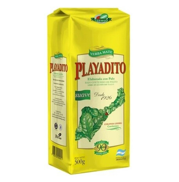 Playadito Yerba Mate Traditional Con Palo from Colonia Liebig Wholesale Bulk Pack - New Packaging, 500 g / 1.1 lb (10 count per pack)