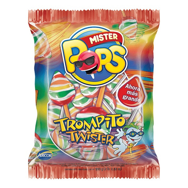 Mister Pops Chupetines Trompito Twister Fruit Flavored Lollypops, 550 g / 19.4 oz (pack of 50 lollypops)
