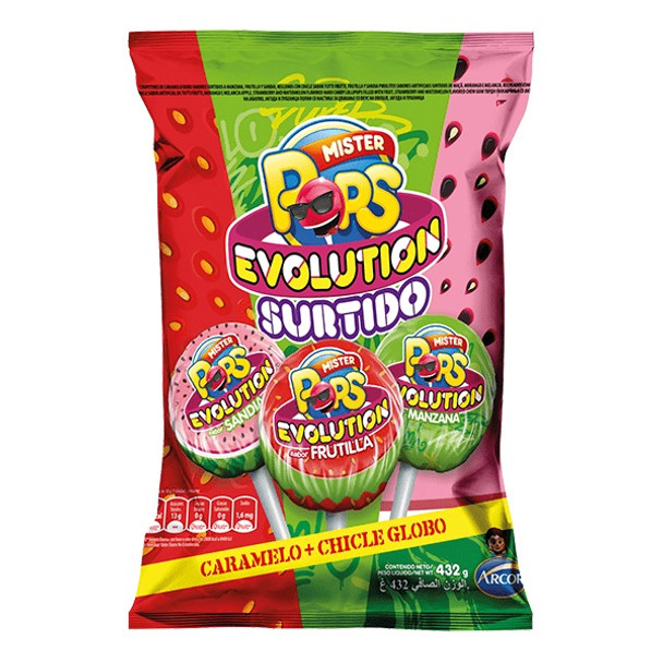 Mister Pops Evolution Surtido Chupetín-Chicle Chupetín Relleno con Chicle Assorted Flavors Watermelon, Strawberry & Apple Flavored Lollipops Filled With Tutti Frutti Bubblegum, 432 g / 15.24 oz (bag of 24 lollypops)