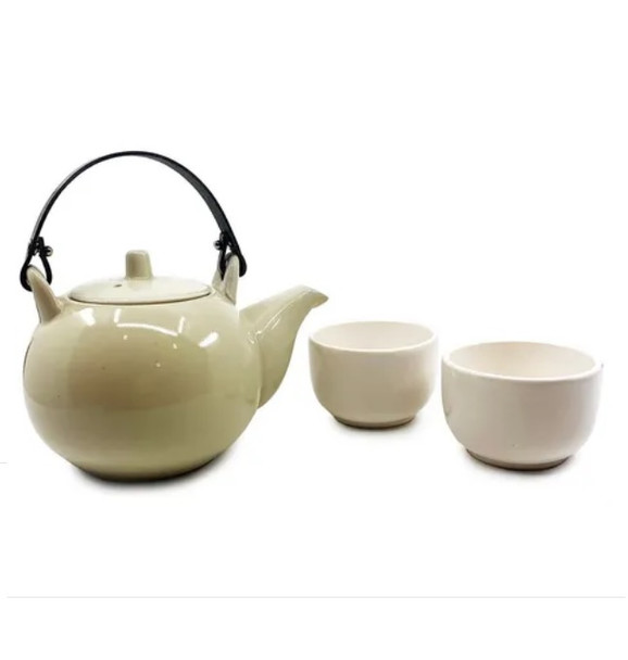 Tea Set Juego Tetera Infusora y Cuencos Porcelain Teapot with Two Porcelain Cups Japanese Style (set of 3 pieces)