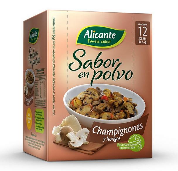 Alicante Sabor En Polvo Champignones y Hongos Champignon Flavored Powder Ready To Use Seasoning Broth, 7.5 g / 0.26 oz ea (box of 12 pouches)