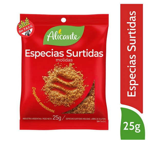 Alicante Especias Surtidas Molidas Ground Mix of Spices, 25 g / 0.88 oz pouch (pack of 3)