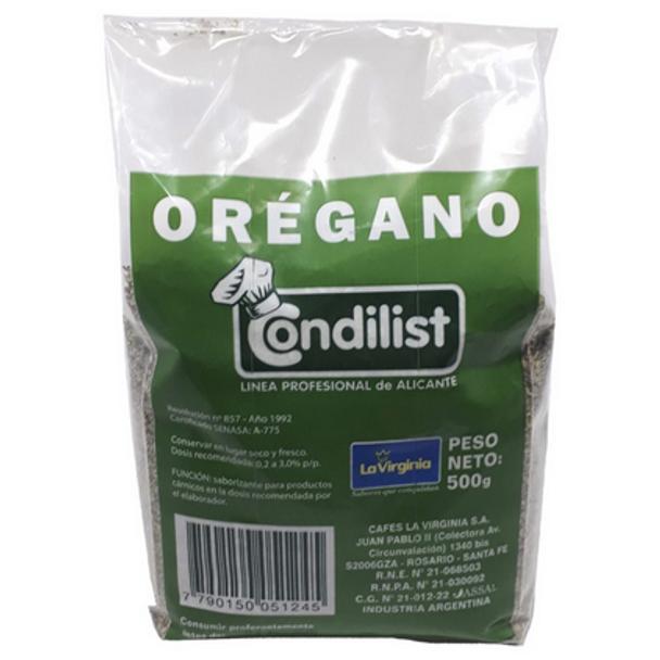 Condilist Orégano Condimento Oregano Spice, 500 g / 1.10 lb