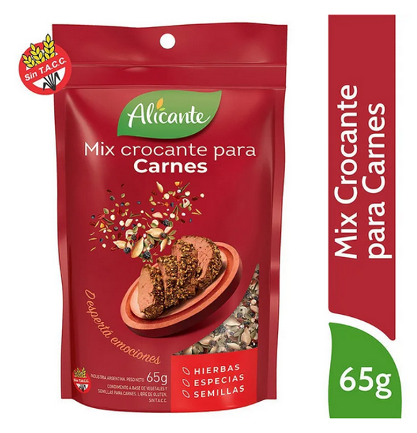 Alicante Mix Crocante Para Carnes Crispy Spices & Seeds Ideal for Meat Seasoning, 65 g / 2.29 oz pouch (pack of 3)