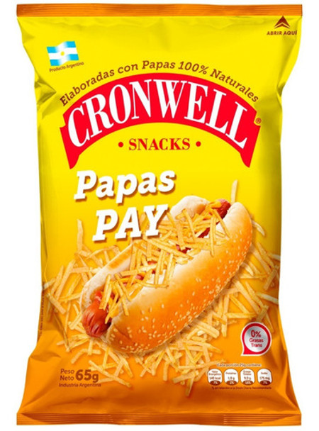 Cronwell Snacks Papas Pay Potato Sticks Crunchy Snack Perfect Hot Dog Topping, 65 g / 2.29 oz bag