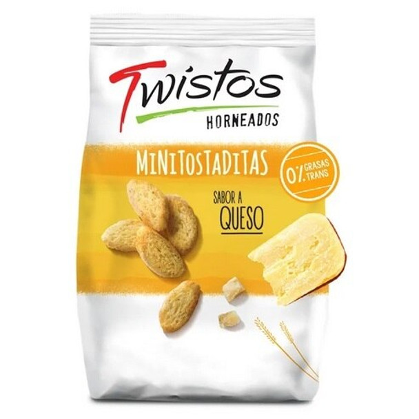 Twistos Horneados Sabor Queso Mini Baked Toasts Cheese Flavor, 45 g / 1.59 oz (pack of 3)