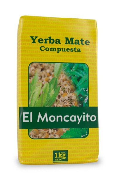 El Moncayo Yerba Mate Compuesta Moncayito with Carqueja, Mint, Lemon Verbena & Chamomile Herbs, 1 kg / 2.2 lb bag