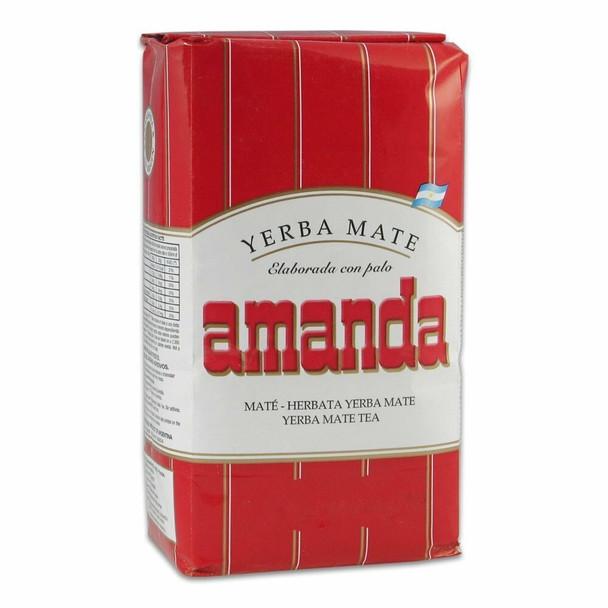 Amanda Yerba Mate Con Palo Unsmoked Classic Argentinian Cut, Wholesale Bulk Box, 500 g / 1.1 lb ea (pack of 10 count)