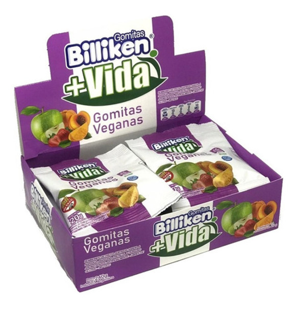 Billiken Gomitas Veganas Bombones de Fruta Vegan Candy Gummies - Gluten Free, 20 g / 0.7 oz (box of 12 units)
