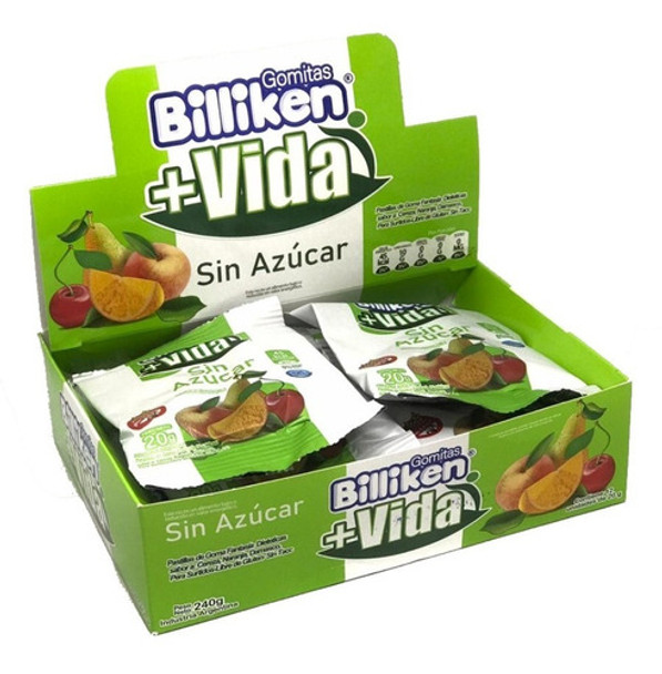 Billiken Gomitas Sin Azúcar Bombones de Fruta No-Sugar Diet Candy Gummies - Gluten Free, 20 g / 0.7 oz (box of 12 units)