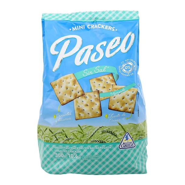 Paseo Mini Crackers Galletitas Sin Sal Classic Crackers No Salt Added, 300 g / 10.6 oz (pack of 3)