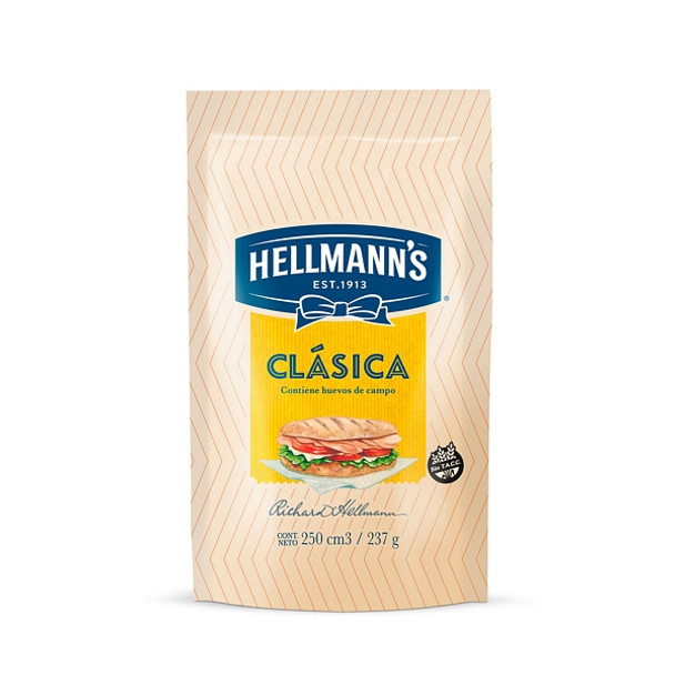 Hellmann's Mayonnaise Classic Argentinian Style Mayonesa in Pouch, 237 g / 8.35 oz