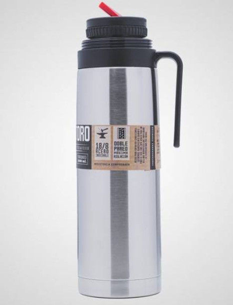 Soy Toro Termo Cebador Acero Inoxidable con Pico Cebador Stainless Steel Thermos Vacuum Bottle with Pouring Beak for Mate, 1 l / 33.8 fl oz