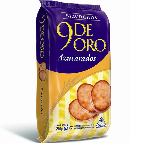 9 de Oro Biscuits with Sprinkled Sugar Bizcochos con Azucar Traditional,  200 g / 7.1 oz (pack of 3)