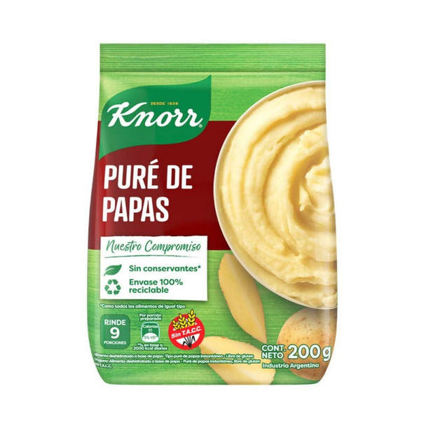 Knorr Puré de Papas Dehydrated Potatoes Powder Ready To Make Mashed Potatoes - No Preservatives Added, 200 g / 7.05 oz  for 9 servings