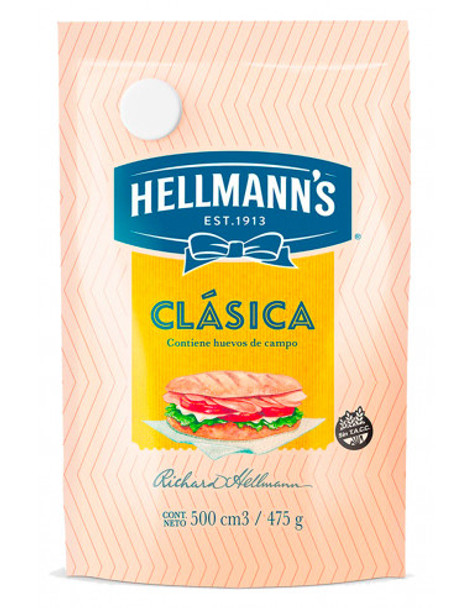 Hellmann's Mayonnaise Classic Argentinian Style Mayonesa in Pouch, 475 g / 16.75 oz
