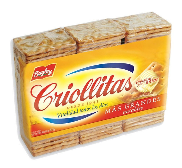 Criollitas Water Biscuits Classic Galletitas, 1x3 pack 507 g / 17.9 oz