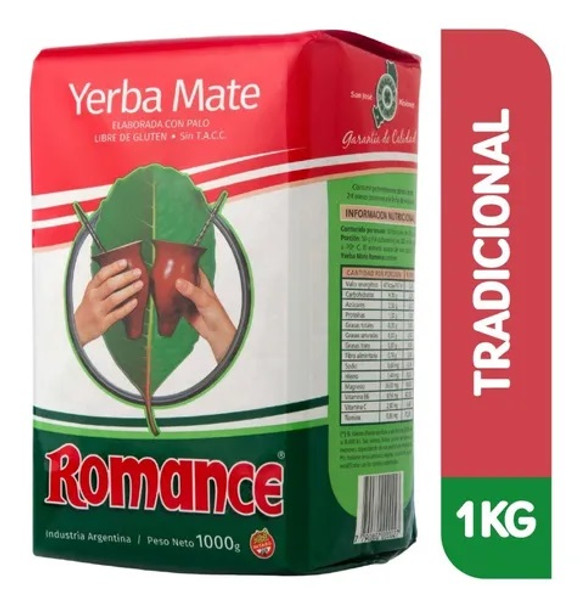Romance Yerba Mate Elaborada con Palo Traditional Yerba Mate with Stems from Misiones, Argentina, 1 kg / 2.2 lb bag