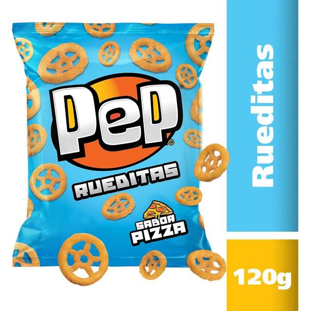 Pep Rueditas Wheat Flour Snacks Wheel Shape Pizza Flavor, 120 g / 4.23 oz