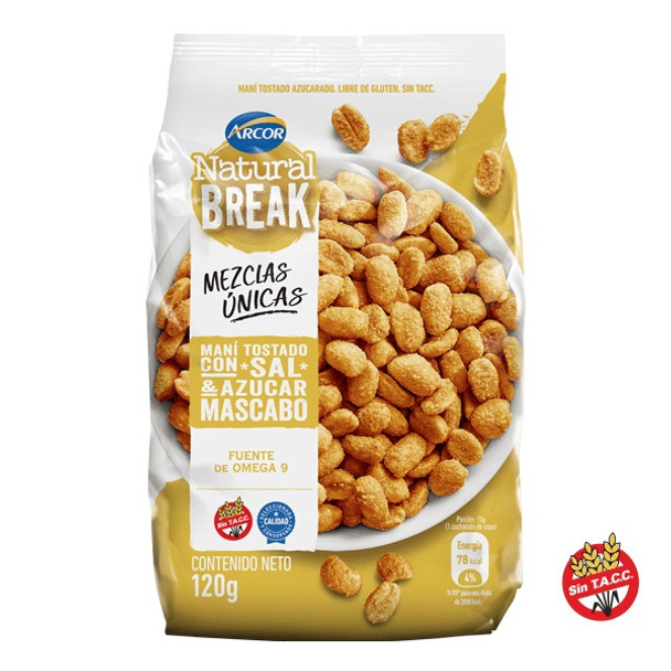Natural Break Maní Tostado con Sal y Azúcar Mascabo Sugary Toasted Peanuts by Arcor - Gluten Free, 120 g / 4.23 oz (pack of 3)