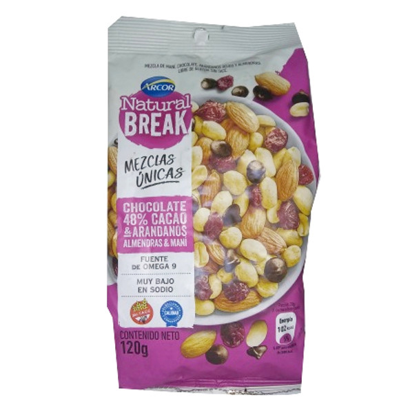 Natural Break Chocolate 48% Cocoa Chips, Blueberries, Almonds & Peanuts by Arcor - Gluten Free, 120 g / 4.23 oz (pack of 3)