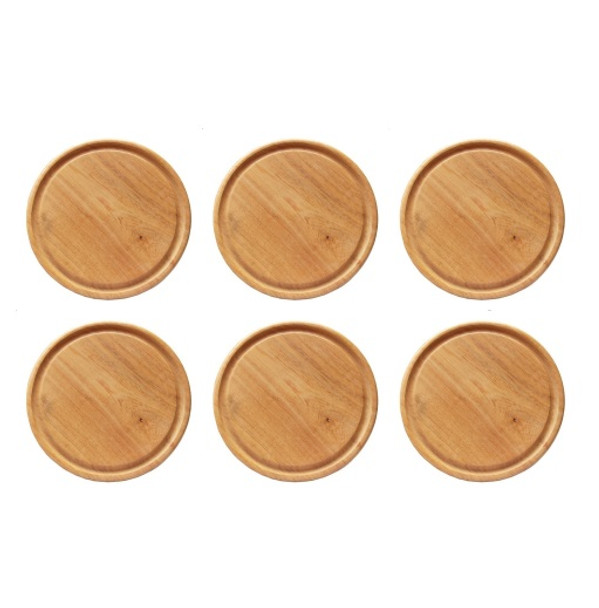 """Plato de Madera Wooden Plate for BBQ, 24 cm / 9.44"""" diameter (pack of 6)"""