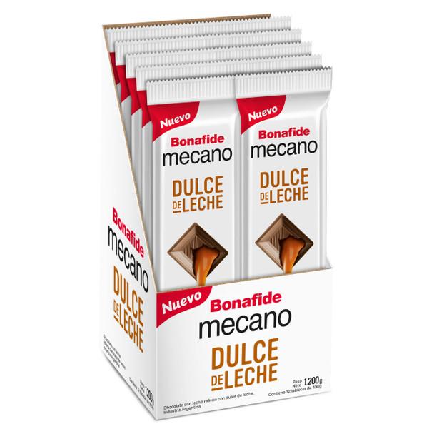 Mecano Dulce de Leche Milk Chocolate Bars with Dulce de Leche Filling Family Sized Pack, 100 g / 3.5 oz bar (box of 12 bars)