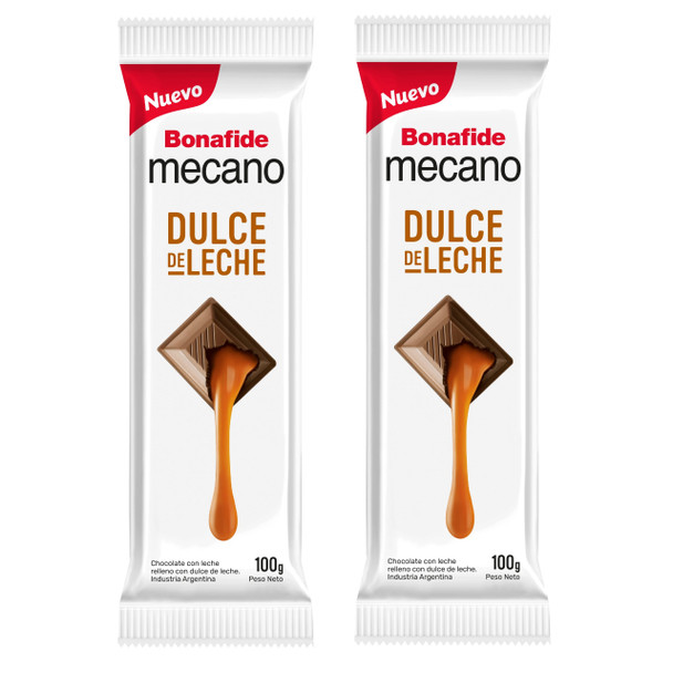 Mecano Dulce de Leche Milk Chocolate Bars with Dulce de Leche Filling Family Sized Pack, 100 g / 3.5 oz bar (pack of 2)