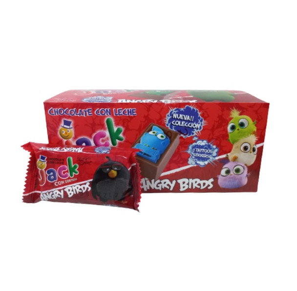 Felfort Jack Chocolate con Leche Old Classic Milk Chocolate Bites with Angry Birds Mini Figures Inside, 14 g / 0.49 oz (box of 20 bites)