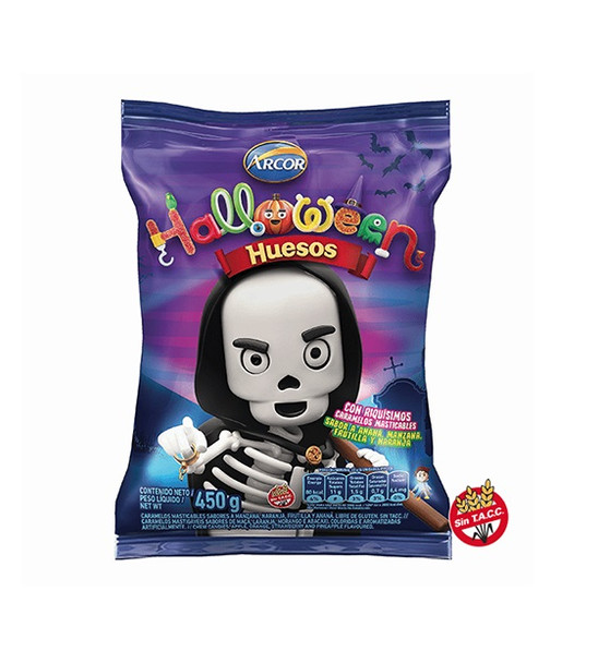 Halloween Huesos Candies Gummies Bones Individually Wrapped for Trick or Treat Asssorted Flavors by Mogul Limited Edition - Gluten Free, 450 g / 1 lb bag