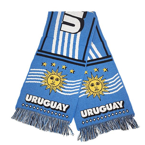 "Bufanda Uruguay White & Lightblue Soft Scarf  Uruguay Design, 140 cm x 21 cm / 55.1"" x 8.3"""