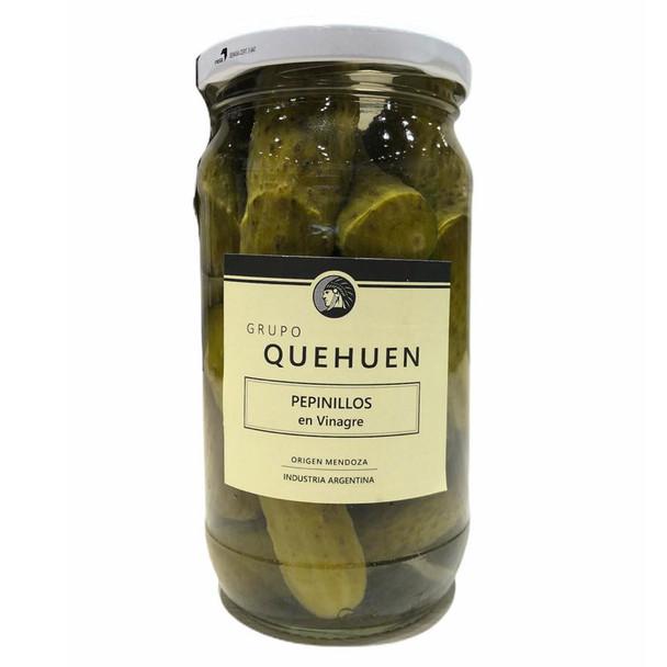 Quehuen Pepinillos En Vinagre Pickled Gherkins Cornichons Classic Flavor, 330 g / 11.6 oz jar