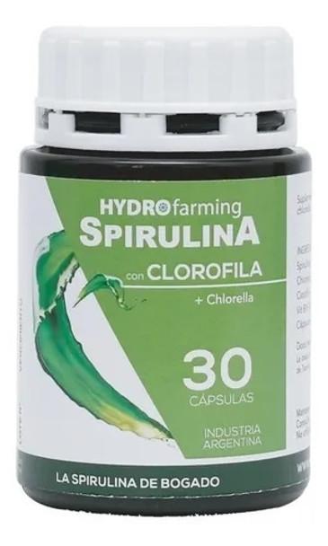 Hydrofarming Spirulina with Chlorophyll & Chlorella Dietary Supplement with Vitamin B1 (30 capsules)
