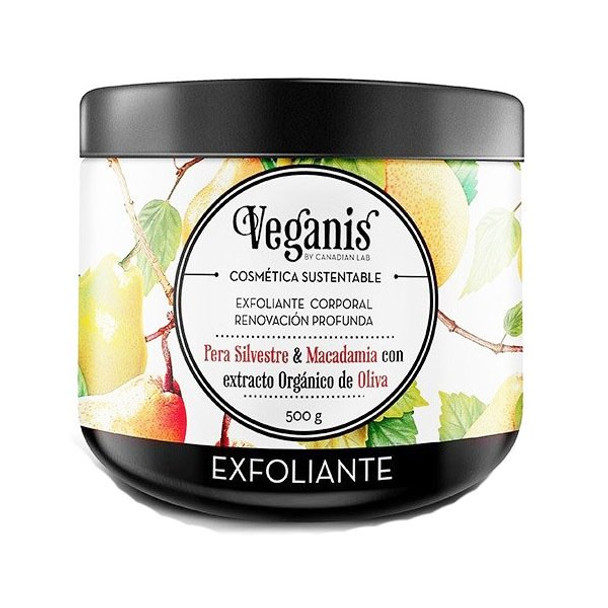 Veganis Exfoliante Corporal Vegan Body Scrub Deep Renewal Body Exfoliator Pear, Macadamia & Organic Olive Extract, 500 g / 17.6 fl oz